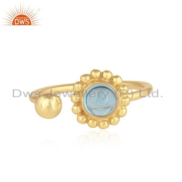 Blue Topaz Gemstone Flower Design Gold Plated 925 Silver Rings Jewelry