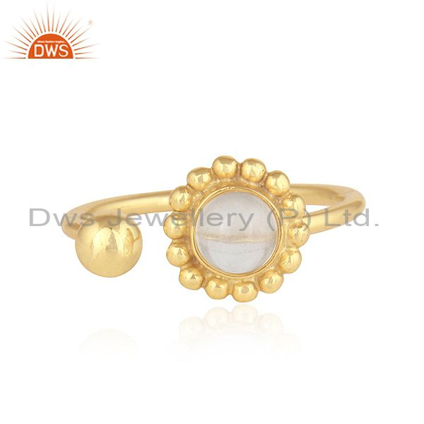 Designer Gold Plated Adjustable 925 Silver Crystal Quartz Rings