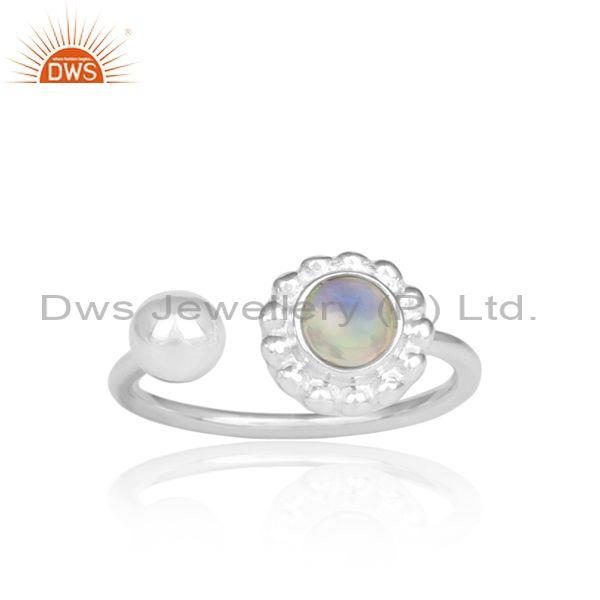 Ethiopian Opal Set Fine Sterling Silver Floral Facing Ring