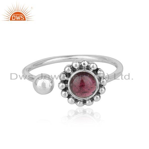 Natural Garnet Gemstone Designer Oxidized 925 Silver Antique Rings