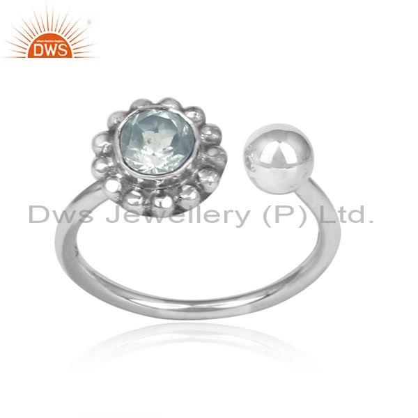 Green Amethyst Set Oxidized Silver Floral Boho Facing Ring
