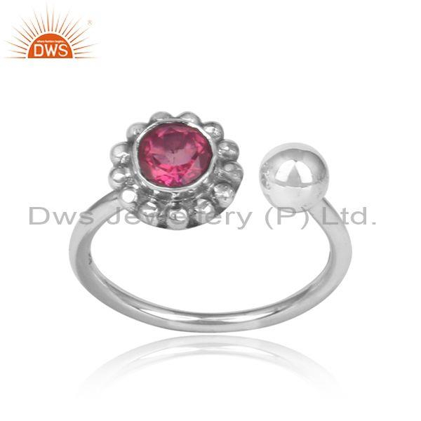 Pink topaz set oxidized 925 silver floral boho facing ring
