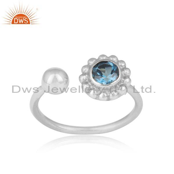 London Blue Topaz Fine Sterling Silver Floral Facing Ring
