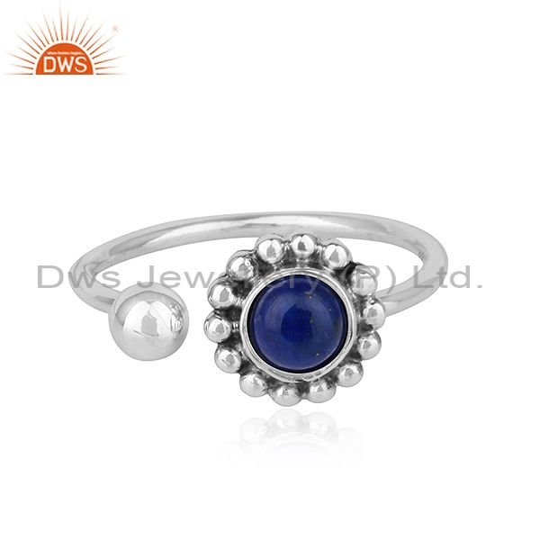 Lapis Lazuli Gemstone Flower Antique Design Oxidized Silver Rings