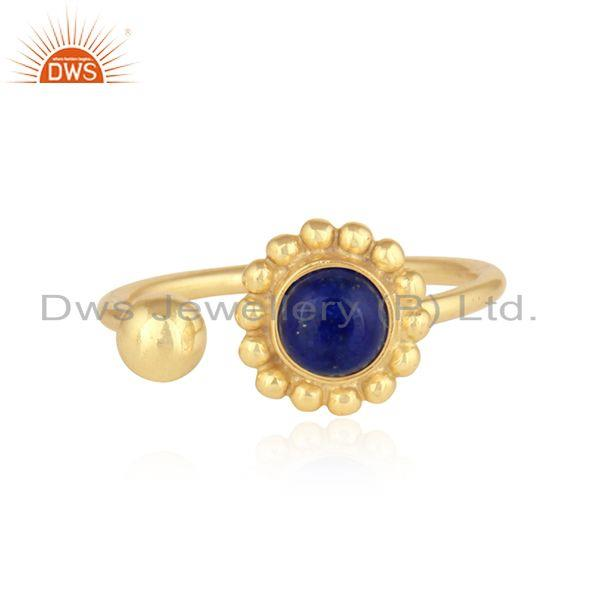 Lapis Lazuli Flower Design Handmade Gold Plated 925 Silver Rings