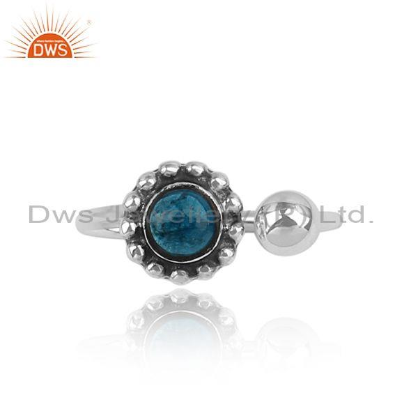 Neon apatite oxidized 925 sterling silver floral facing ring