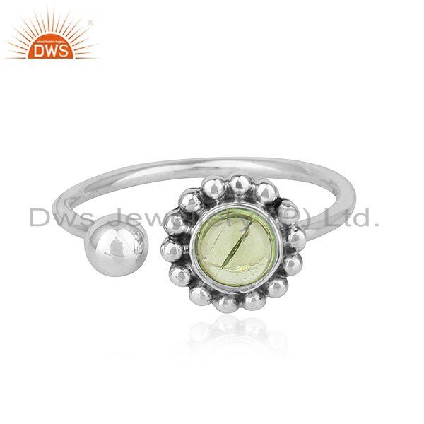 Peridot Gemstone New Adjustable Oxidized Plated 925 Silver Rings