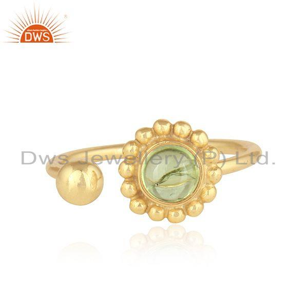 Natural Peridot Gemstone Designer Gold Plated Silver Rings Jewelry