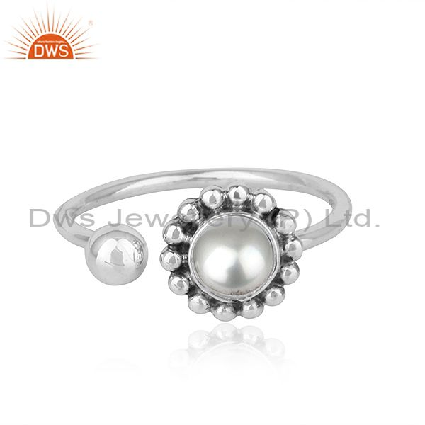 Natural Pearl Gemstone Designer Sterling Silver Oxidized Finish Rings