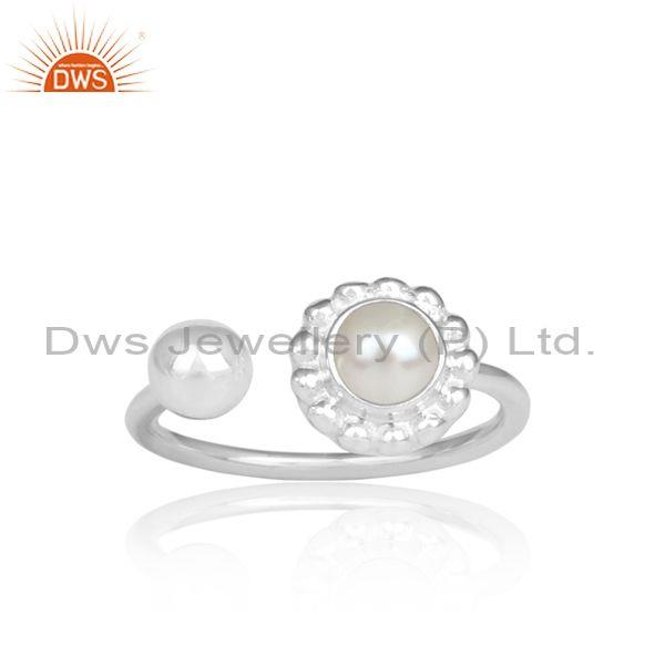 Pearl Cabushion Set Fine Sterling Silver Floral Facing Ring