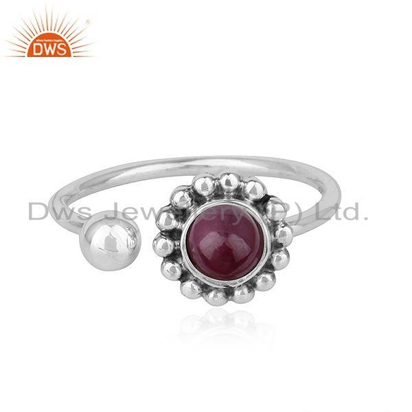 Natural Ruby Stone Designer Oxidized Antique 92.5 Silver Rings Jewelry