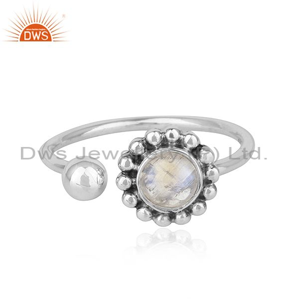 Rainbow Moonstone Flower Designer Adjustable Oxidized Silver Rings