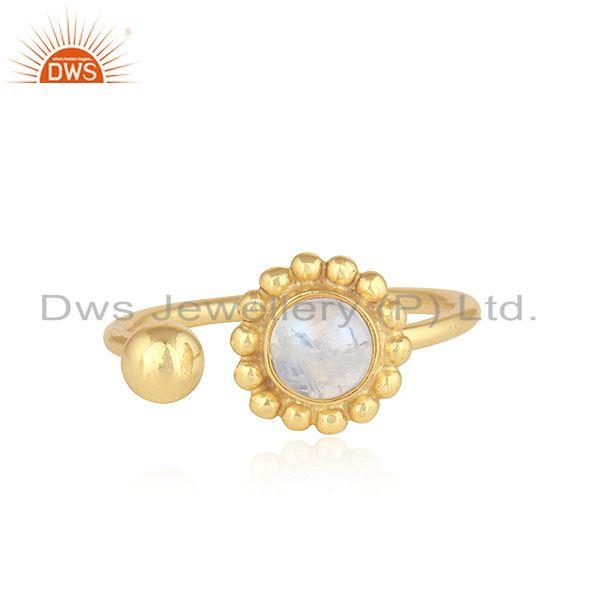 Rainbow Moonstone Womens Gold Plated 925 Silver Flower Design Rings