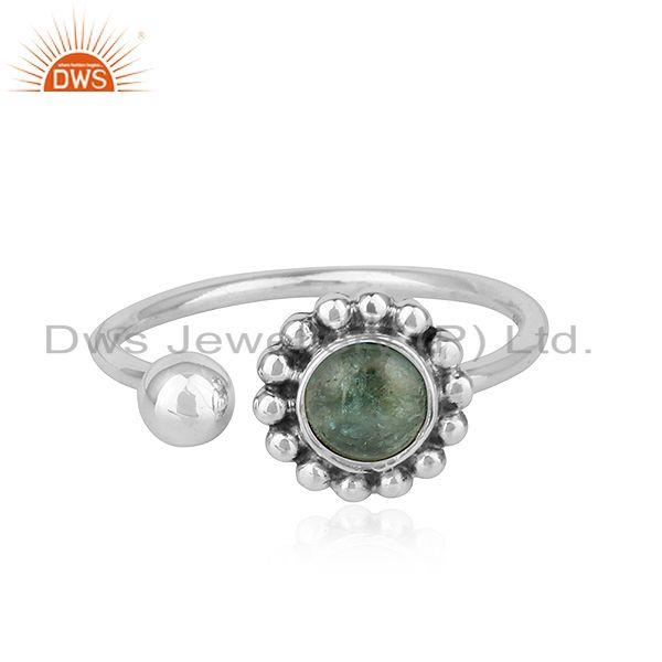 Green Tourmaline Gemstone Adjustable Antique Oxidized Silver Rings