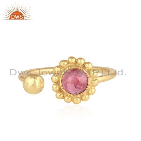 Pink Tourmaline Gemstone Designer 925 Silver Gold Plated Rings Jewelry