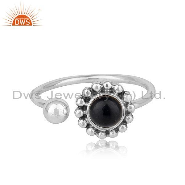 Natural Black Onyx Gemstone Flower Design Oxidized Finish Silver Rings