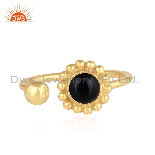 Flower Design 18k Gold Plated Silver Black Onyx Gemstone Ring Jewelry