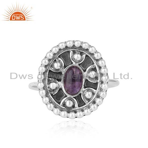 New arrival oxidized sterling silver amethyst gemstone rings jewelry