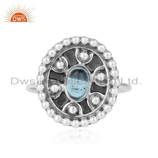 Antique designer oxidized finish 925 silver blue topaz gemstone rings