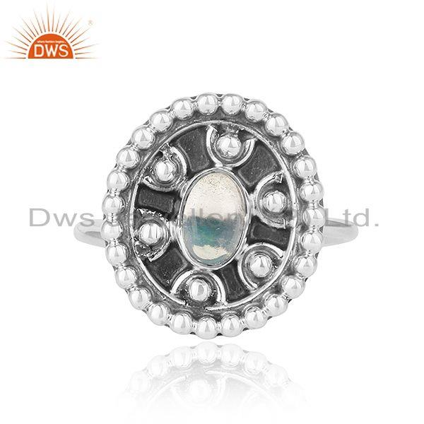 Ethiopian opal stone 925 silver antique oxidized silver rings jewelry