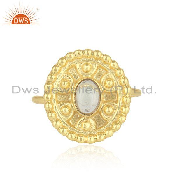 Ethiopian opal gemstone handmade design gold plated silver rings