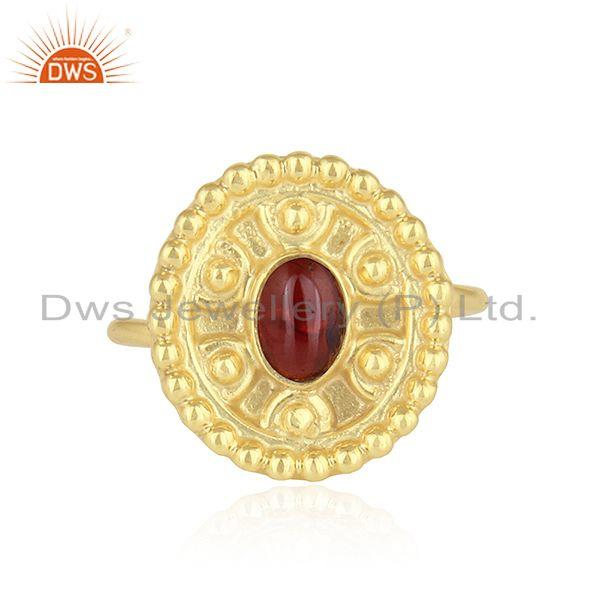 Hand Craved Gold Plated 925 Silver Garnet Gemstone Ring Jewelry