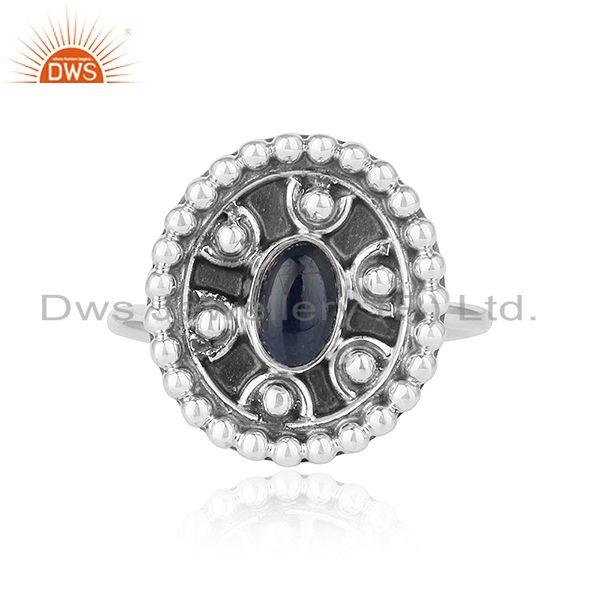 Natural blue sapphire gemstone oxidized plated designer silver rings