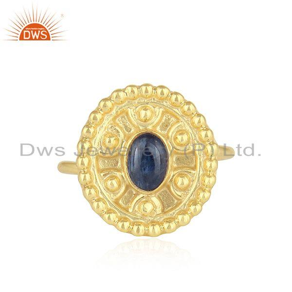 Blue sapphire gemstone designer gold plated silver rings jewelry
