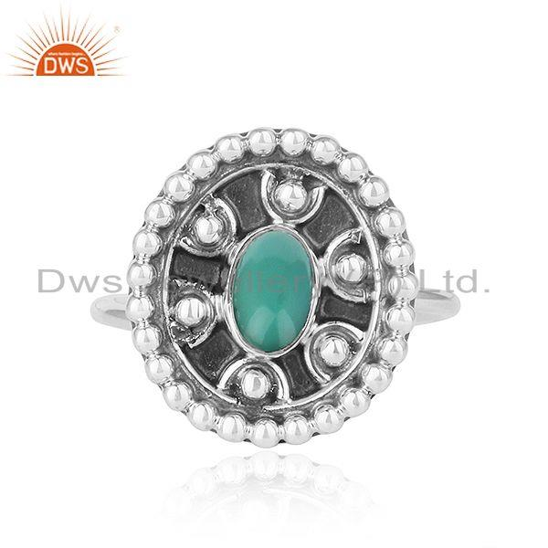 Arizona turquoise gemstone antique design oxidized 925 silver rings