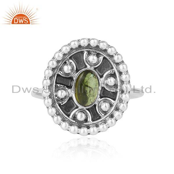 Natural green tourmaline gemstone womens oxidized silver rings