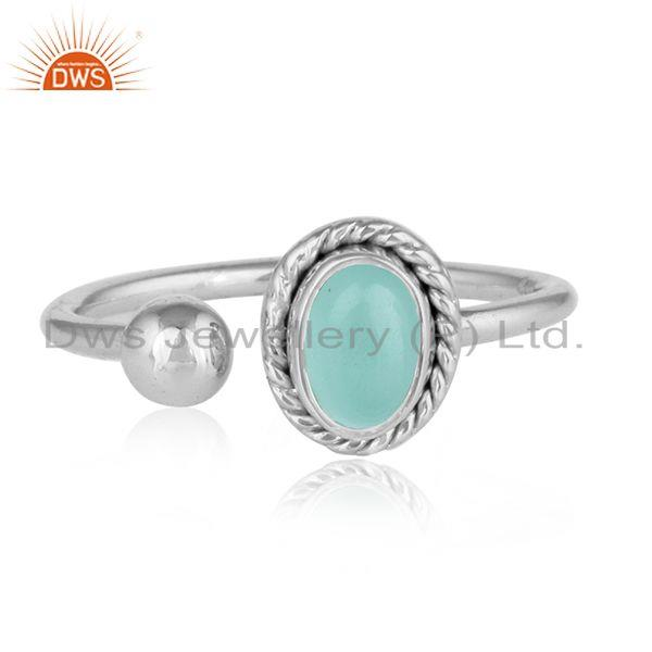 925 sterling silver aqua chalcedony gemstone womens rings jewelry