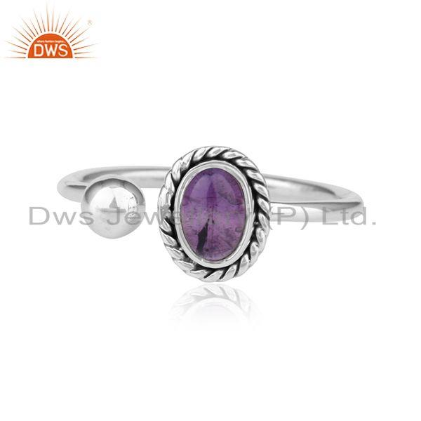 Antique Oxidized Sterling Silver Amethyst Gemstone Ring Jewelry