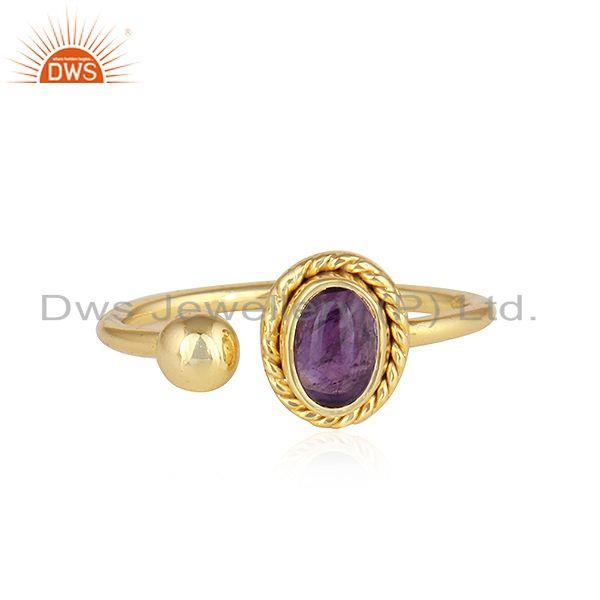 18k Gold Plated Designer 925 Silver Natural Amethyst Gemstone Rings