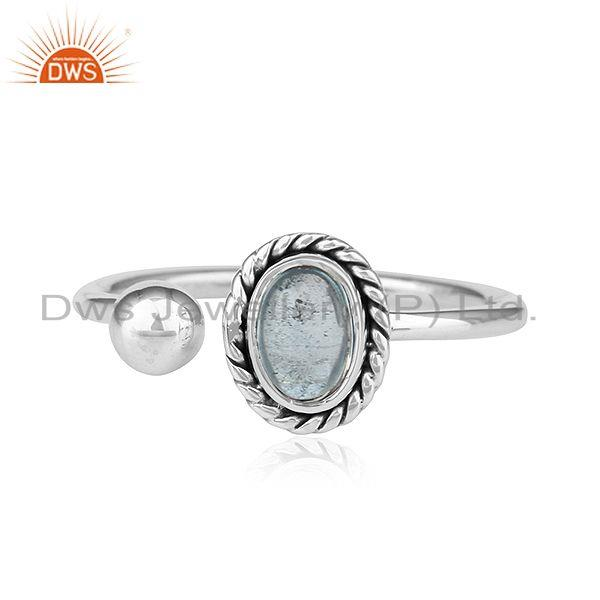 Blue Topaz Gemstone Oxidized Sterling Silver Handmade Rings Jewelry
