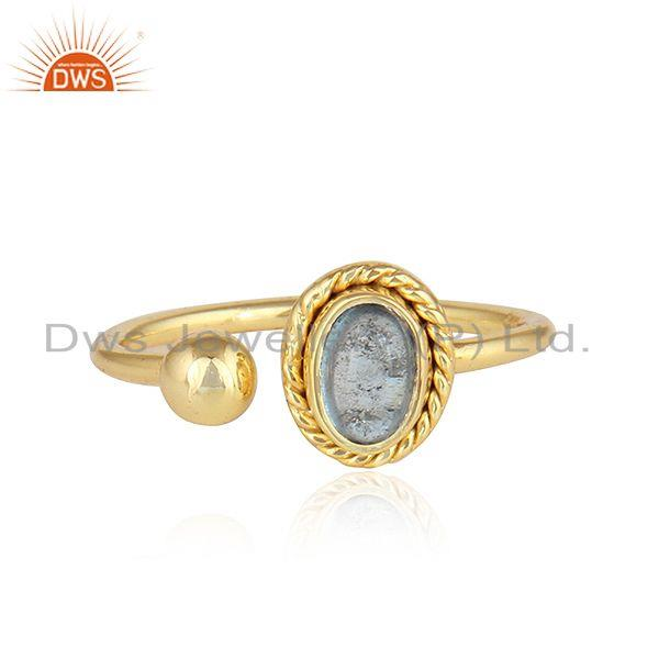 Designer Gold Plated 925 Silver Blue Topaz Gemstone Rings Jewelry