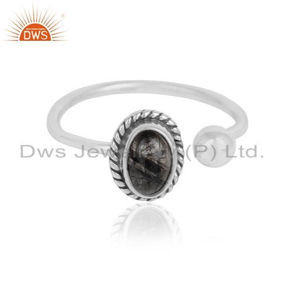 Black Rutile Oxidized Antique 92.5 Silver Designer Rings Jewelry