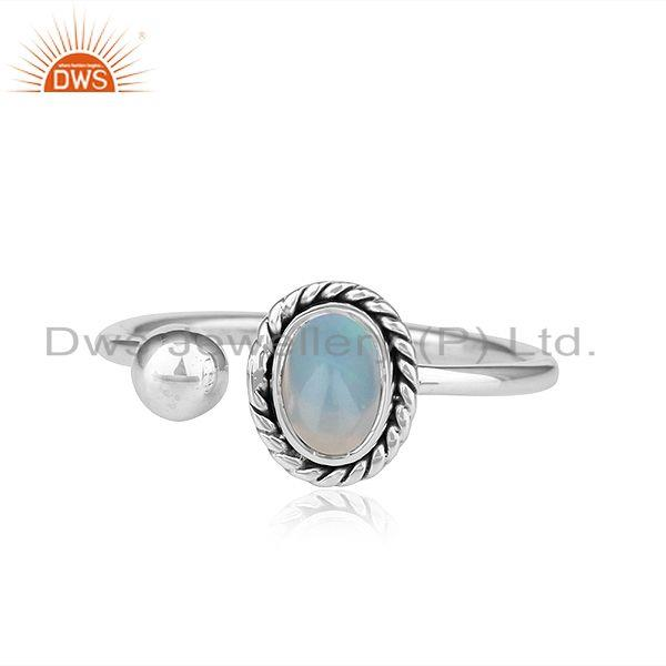 Ethiopian Opal Oxidized Plated Antique 92.5 Silver Designer Rings