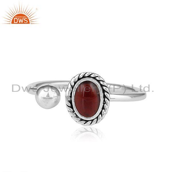 Natural Garnet Gemstone Designer Oxidized Sterling Silver Ring Jewelry