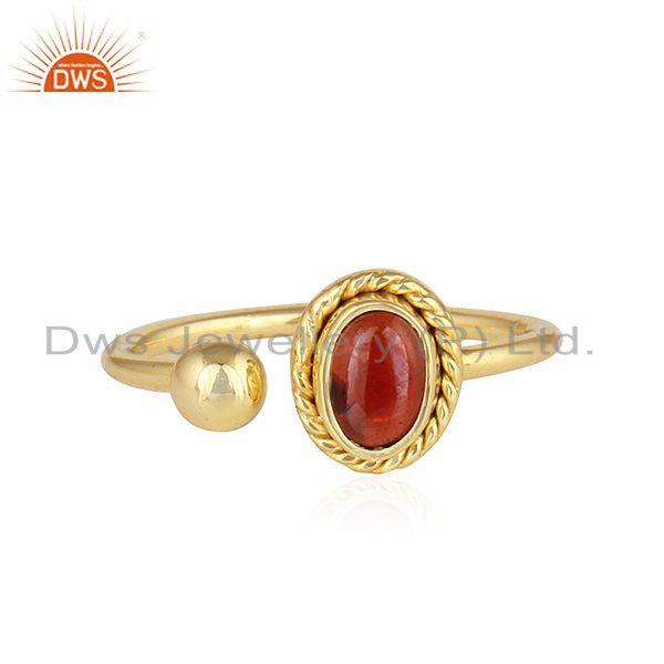 Natural Garnet 18k Yellow Gold Plated Designer Silver Ring Jewelry
