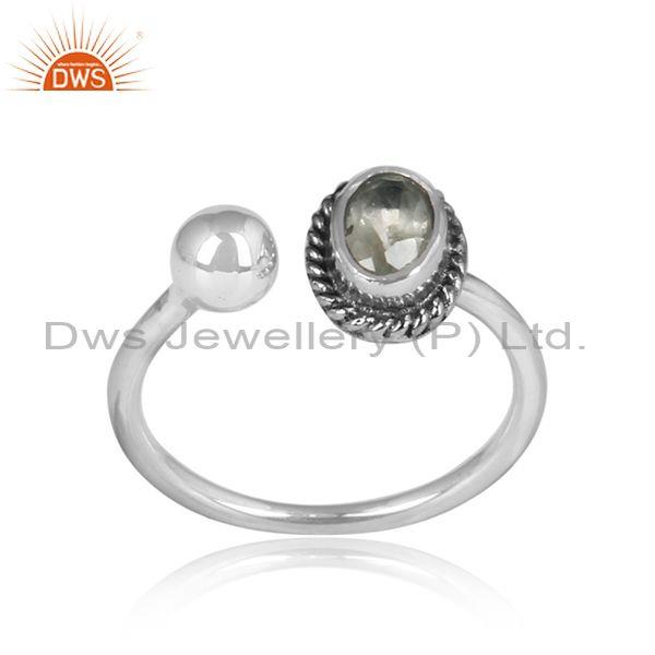 Wrapped Green Amethyst Set Sterling Silver Oxidized Ring