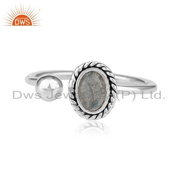 New Look Sterling Silver Oxidized Finish Labradorite Gemstone Rings
