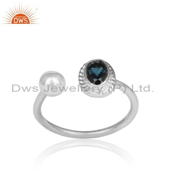 London Blue Topaz Set Handmade Fine 925 Silver Facing Ring