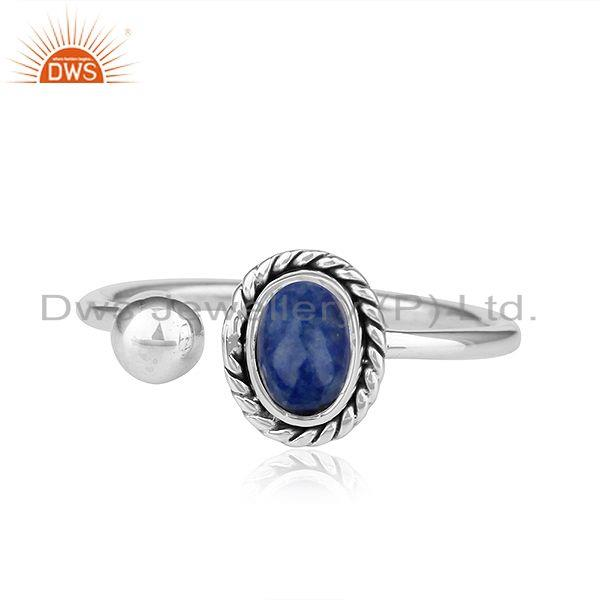 Natural Lapis Lazuli Gemstone Antique Sterling Silver Oxidized Rings