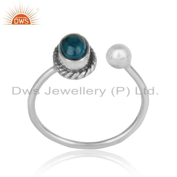 Designer oxidized on silver 925 with neon apatite womens rings