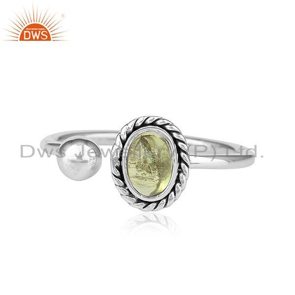 Peridot Gemstone Designer Oxidized Antique Silver Womens Rings Jewelry