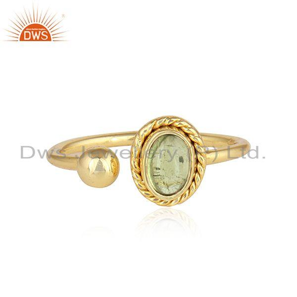 Peridot Gemstone Yellow Gold Plated Designer Silver Ring For Womens