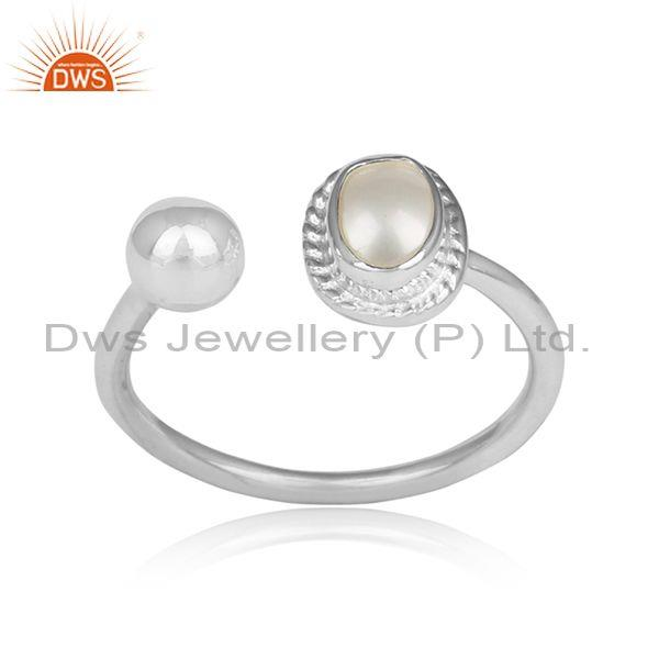Wrapped Pearl Set Handmade Fine 925 Silver Facing Ring