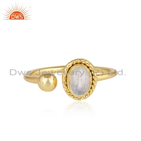 Rainbow Moonstone 18k Yellow Gold Plated Designer 925 Silver Rings