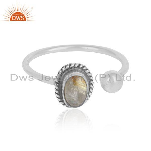 Golden Rutile Gemstone Designer Oxidized Silver 925 Ring Jewelry