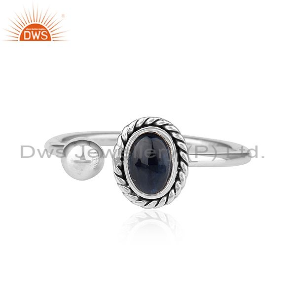 Natural Blue Sapphire Gemstone Designer Oxidized Silver Ring Jewelry